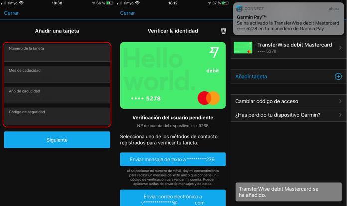 cómo añadir la tarjeta de transferwise a Garmin Pay