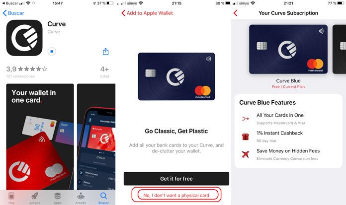 Creación de la tarjeta virtual mastercard desde la app de Curve