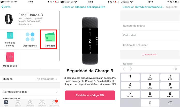configuración del monedero en la aplicación de fitbit para realizar pagos inalámbricos.