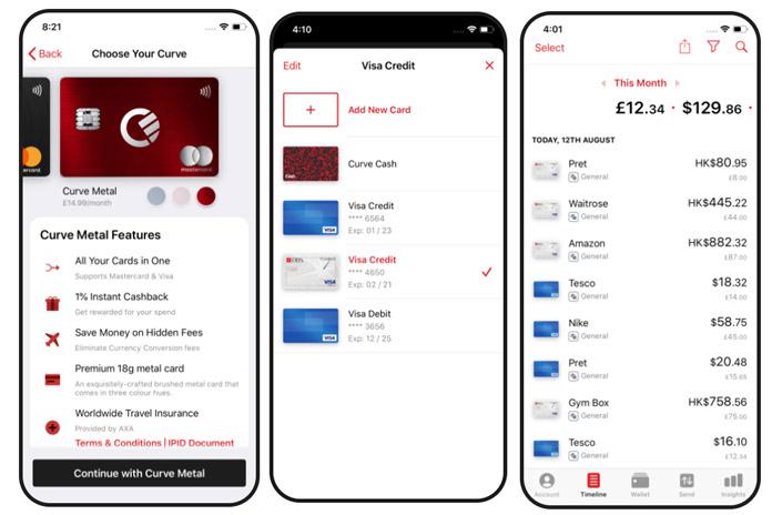 Curve aplicación monedero de tarjetas de banco