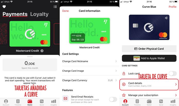 cómo añadir una tarjeta a la app Curve