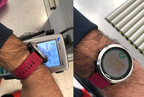 Confirmación del pago en un reloj gps de Garmin con Garmin Pay