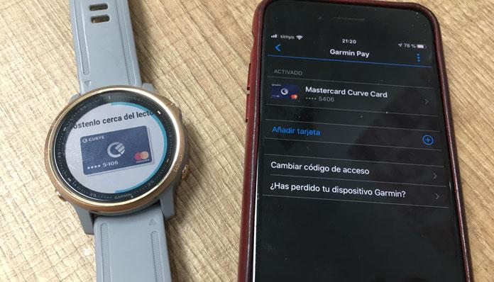 Pagar con la tarjeta de la app Curve en un reloj Garmin con Garmin Pay