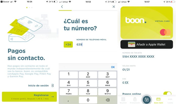 Tarjeta virtual Boon. de Wirecard compatible con apple pay, garmin pay, google pay y fitbit pay.