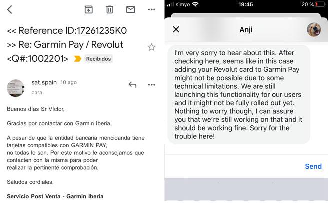 tarjeta error revolut garmin pay