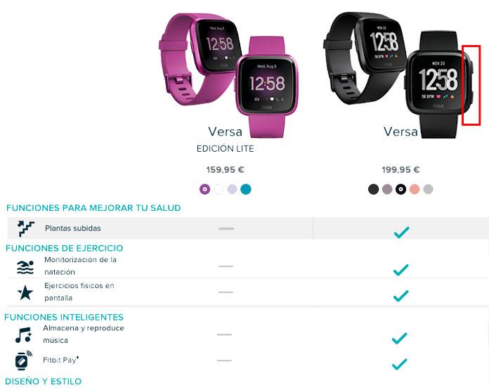 Principales diferencias entre el Fitbit versa y la edición LITE.