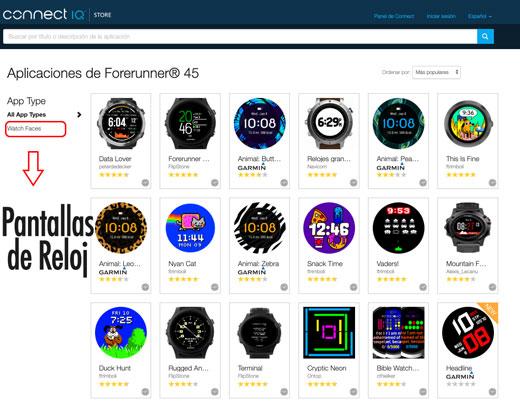 Esferas de reloj para el Forerunner 45 y Forerunner 45S en la plataforma de aplicaciones de connect IQ de Garmin