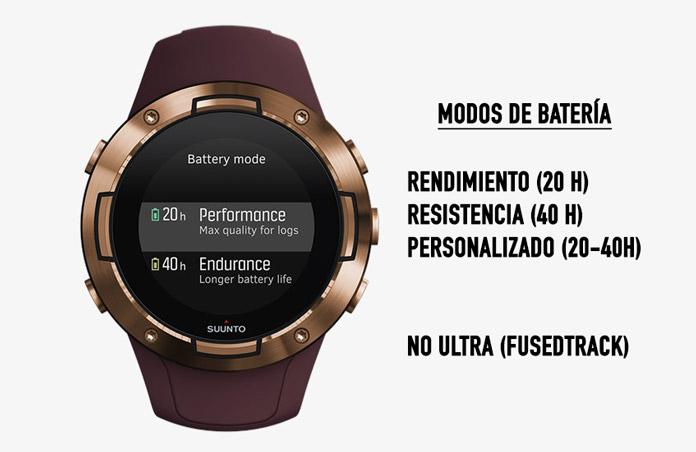autonomía Suunto 5 y modos de batería