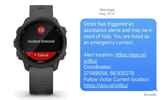mensaje de emergencia y detección de accidentes automática en el Garmin Forerunner 245 Music y Forerunner 245