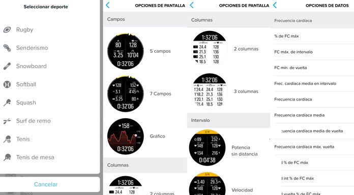 configuración de los campos de datos y pantallas disponibles en la aplicación móvil de Suunto para relojes gps de Suunto