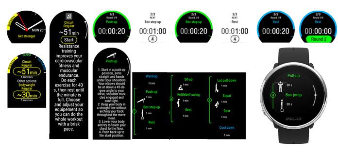 Ejemplo de pantallas e información de un entrenamiento de fuerza en el plan FitSpark del Polar Ignite.