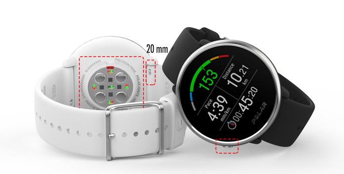 Polar ignite con pulsómetro óptico, pantalla táctil y correas de 20 milímetros intercambiables.