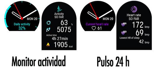 Pantallas relativas al monitor de actividad diaria en el Polar Ignite.