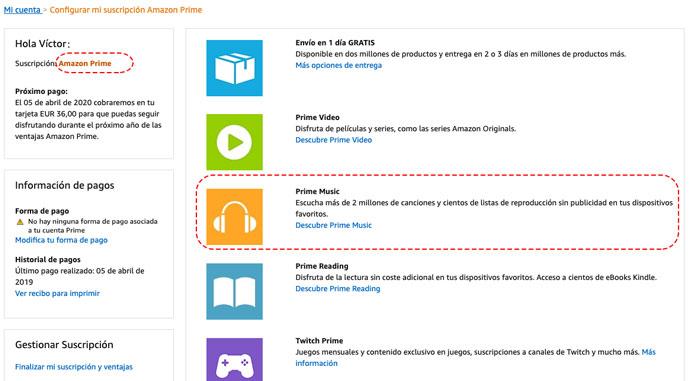 Servicios incluidos en la cuenta Prime de Amazon