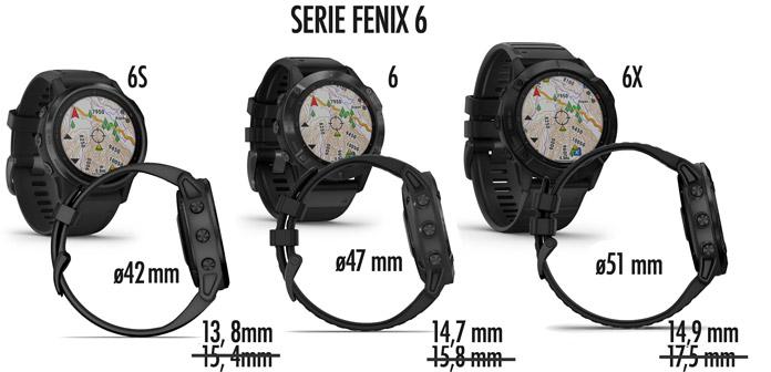 diferentes espesores de los Garmin Fenix 6, 6S y 6X