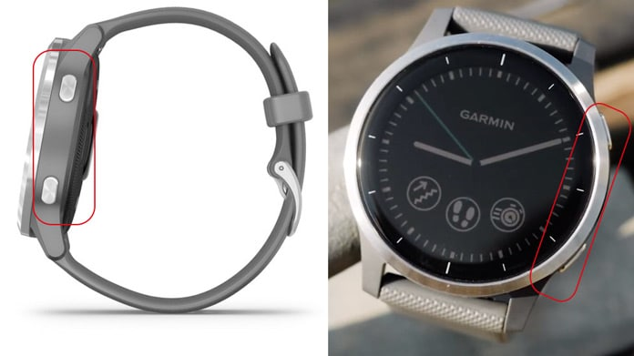 nuevo diseño con dos botones y bisel metálico liso del vivoactive 4