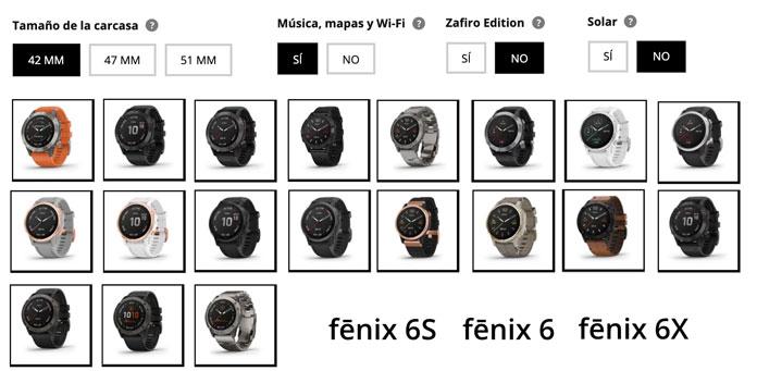 versiones y modelos distinos del Garmin Fenix 6, 6S y 6X