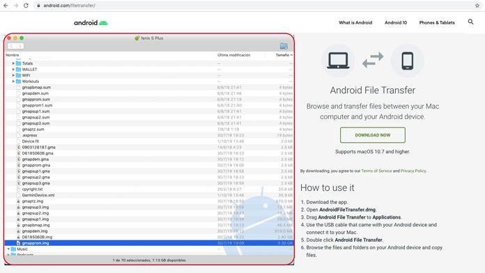 Android file transfer para ver archivos dispositivo Garmin