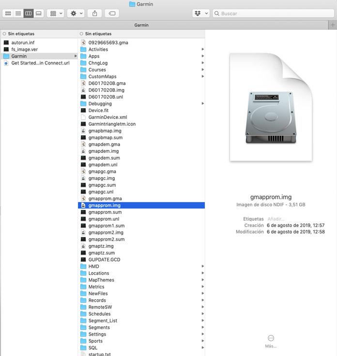 Explorador archivos y carpetas dispositivo Garmin