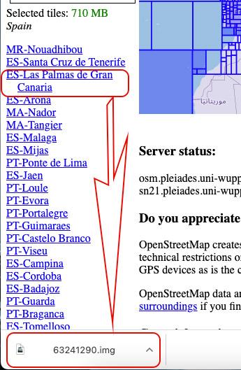 Descargar zonas de un mapa para un dispositivo gps de Garmin