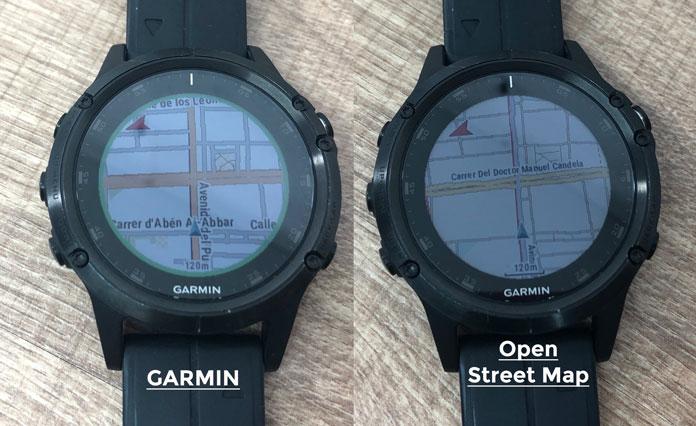 diferencia entre los mapas TopoActive Europa de Garmin y OpenStreetMap de Garmin