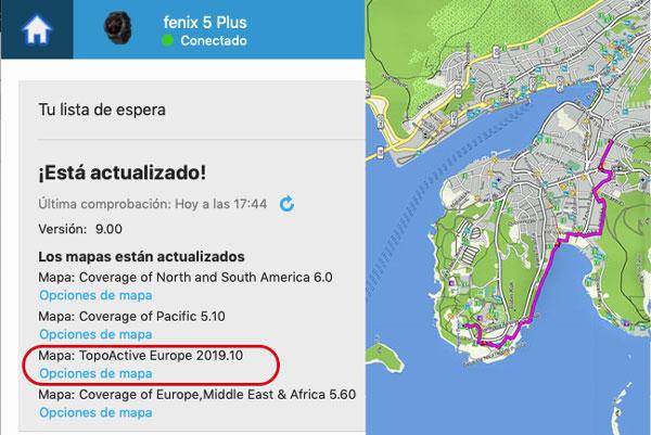 Mapas topográficos Garmin Fenix 5x, 5 Plus y Fenix 6