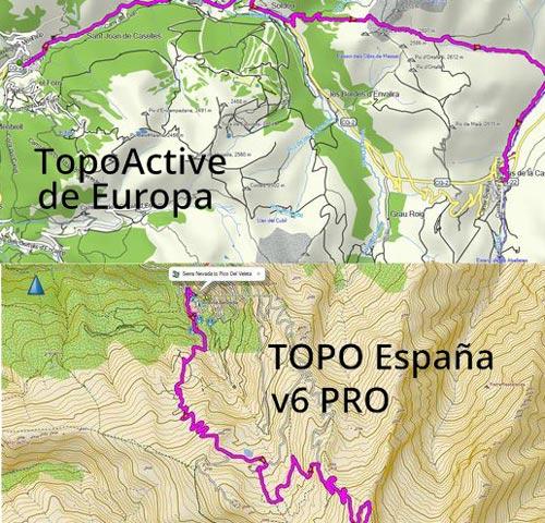 diferencia mapas topoactive Europa y topo España