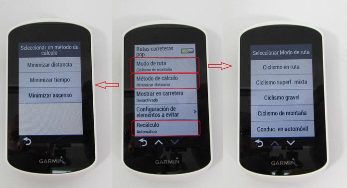 configuración del cálculo automático de trayectos en el Garmin Edge Explore