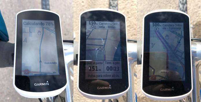 pantalla avisos de giro en los trayectos del Garmin Edge Explore