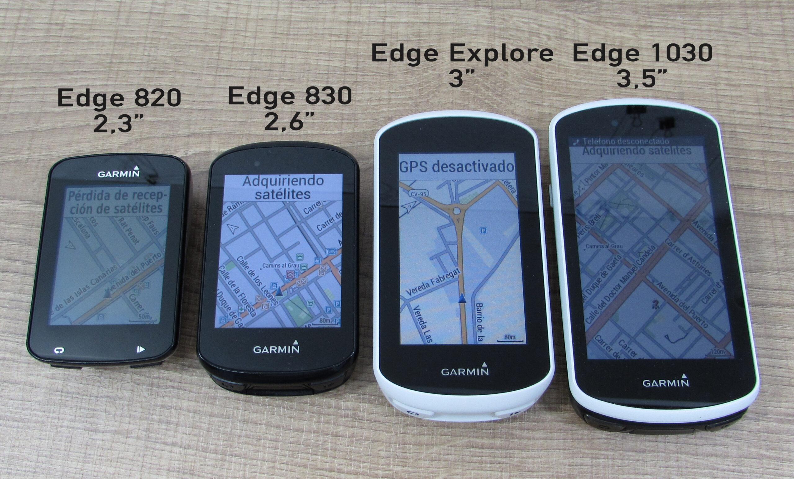 Diferencias de tamaño de pantalla Garmin Edge 820 vs Edge 830 vs Edge Explore vs Edge 1030.