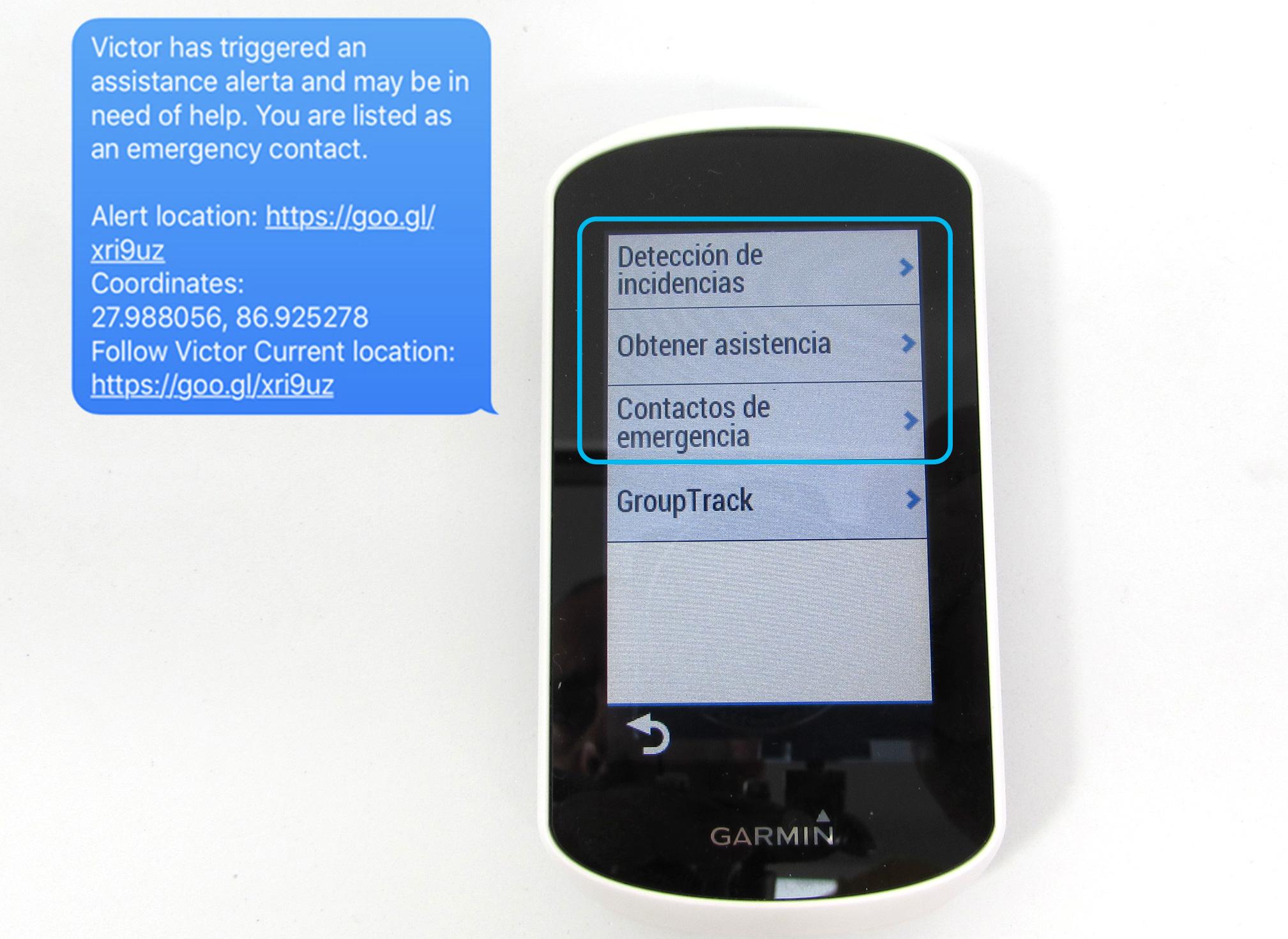 detección de accidentes y mensaje de asistencia en el Garmin Edge Explore