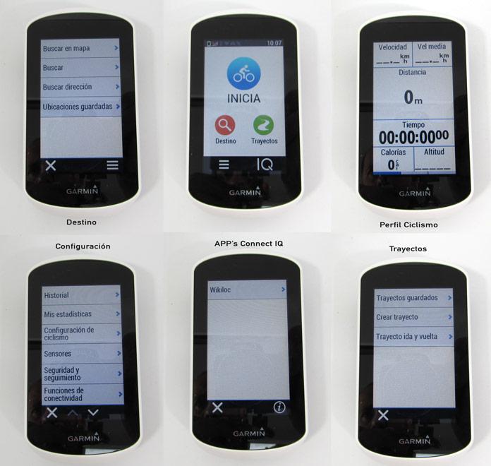 Pantalla de inicio Garmin Edge Explore y menús de trayectos, configuración y aplicaciones.