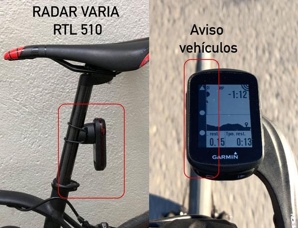Radar de vehículos varia RTL 510 conectado a un Garmin EDGE