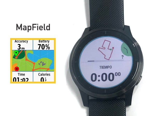 Campo de datos MapField en pantalla de dos campos de datos en Vivoactive 4