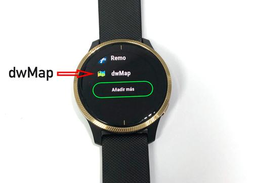 aplicación dwMap en garmin venu como nuevo perfil de actividad