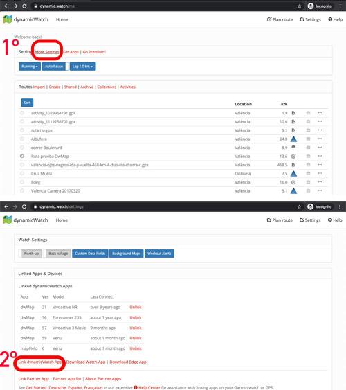 código de vinculación de la aplicación dwMap de connect IQ en el portal dynamic.watch