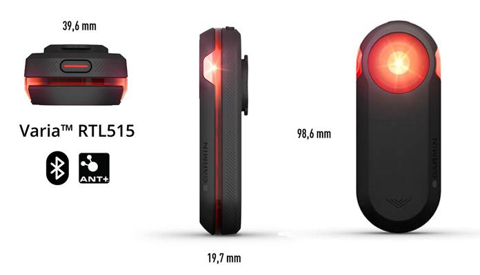 Especificaciones técnicas de la nueva Luz y radar trasero Garmin Varia RTL515
