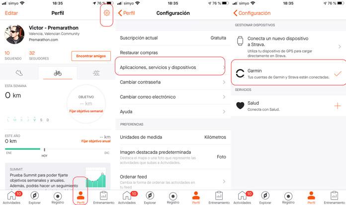 Cómo conectar las cuentas de Strava y Garmin Connect para importar trayectos desde la app móvil de Strava