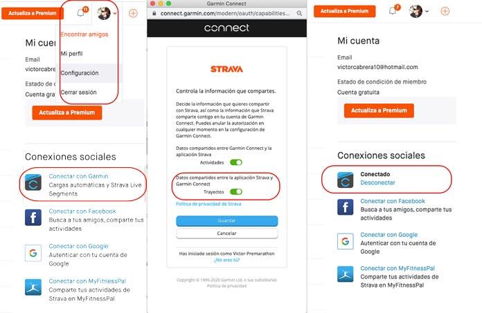 Cómo conectar las cuentas de Strava y Garmin Connect para importar trayectos desde la web de Strava