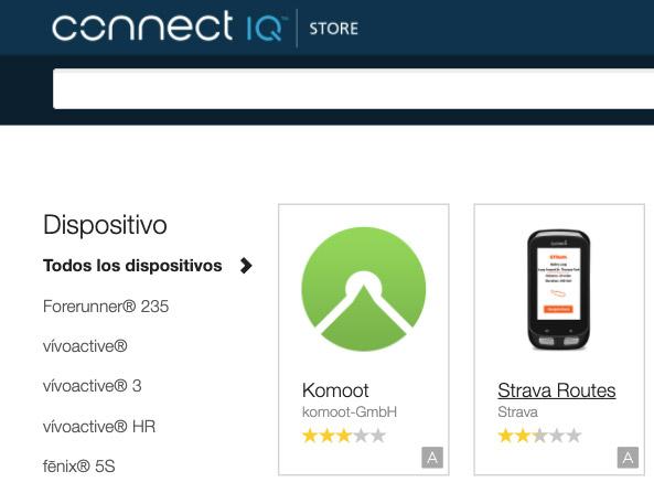 Aplicaciones Connect IQ komoot y Strava Routes