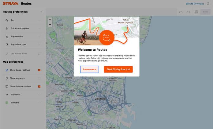 Planificador de rutas (Routes) de Strava