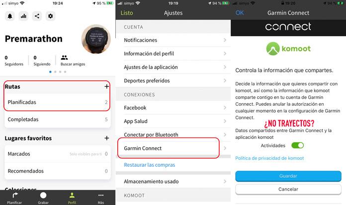 Cómo conectar las cuentas de komoot y Garmin Connect para importar trayectos desde la app de komoot