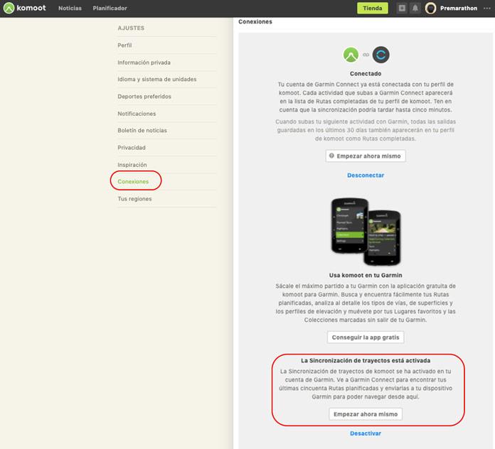 Activar sincronización de trayectos entre komoot y Garmin Connect desde la web de komoot