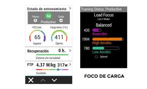 métricas de forma física en el Garmin Edge 1030 Plus