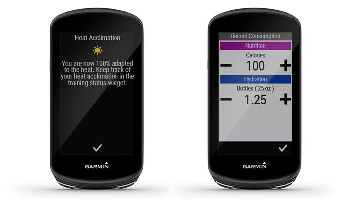 Garmin Edge 1030 Plus widget nutrición y avisos aclimatación