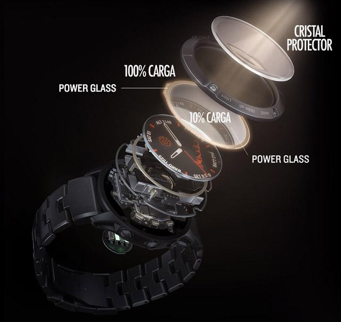 funcionamiento de la carga solar mediante el cristal Power Glass de Garmin