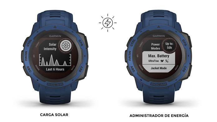 administrador de energía y widget de carga solar en el Garmin Instinct Solar