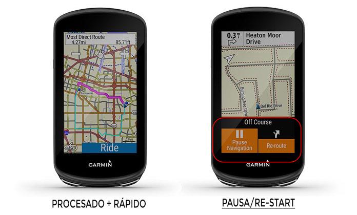 pausa y restart navegación en Garmin Edge 1030 Plus