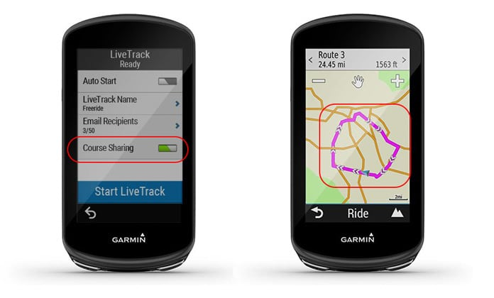 compartir trayecto cargado con live track Garmin Edge 1030 Plus