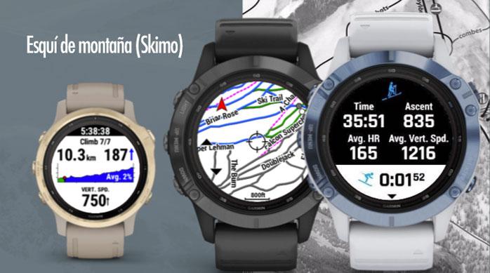 nuevo perfil deportivo para esquí de montaña en la serie Garmin fenix 6